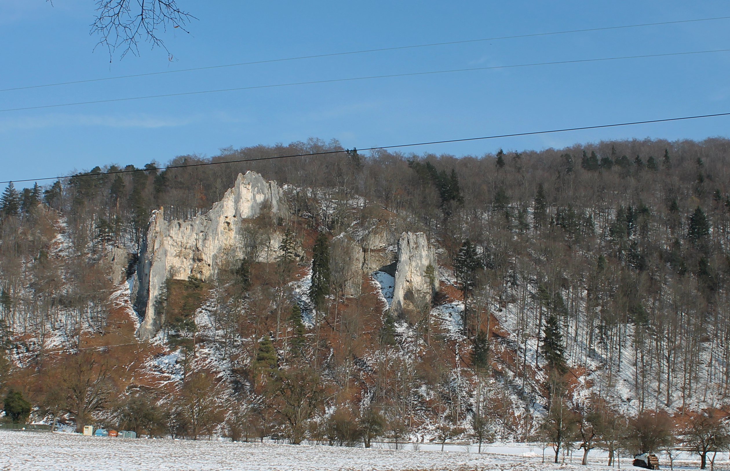 A view of the limestone cliffs at Geißenklösterle (Germany) as seen from the floor of the Ach Valley.