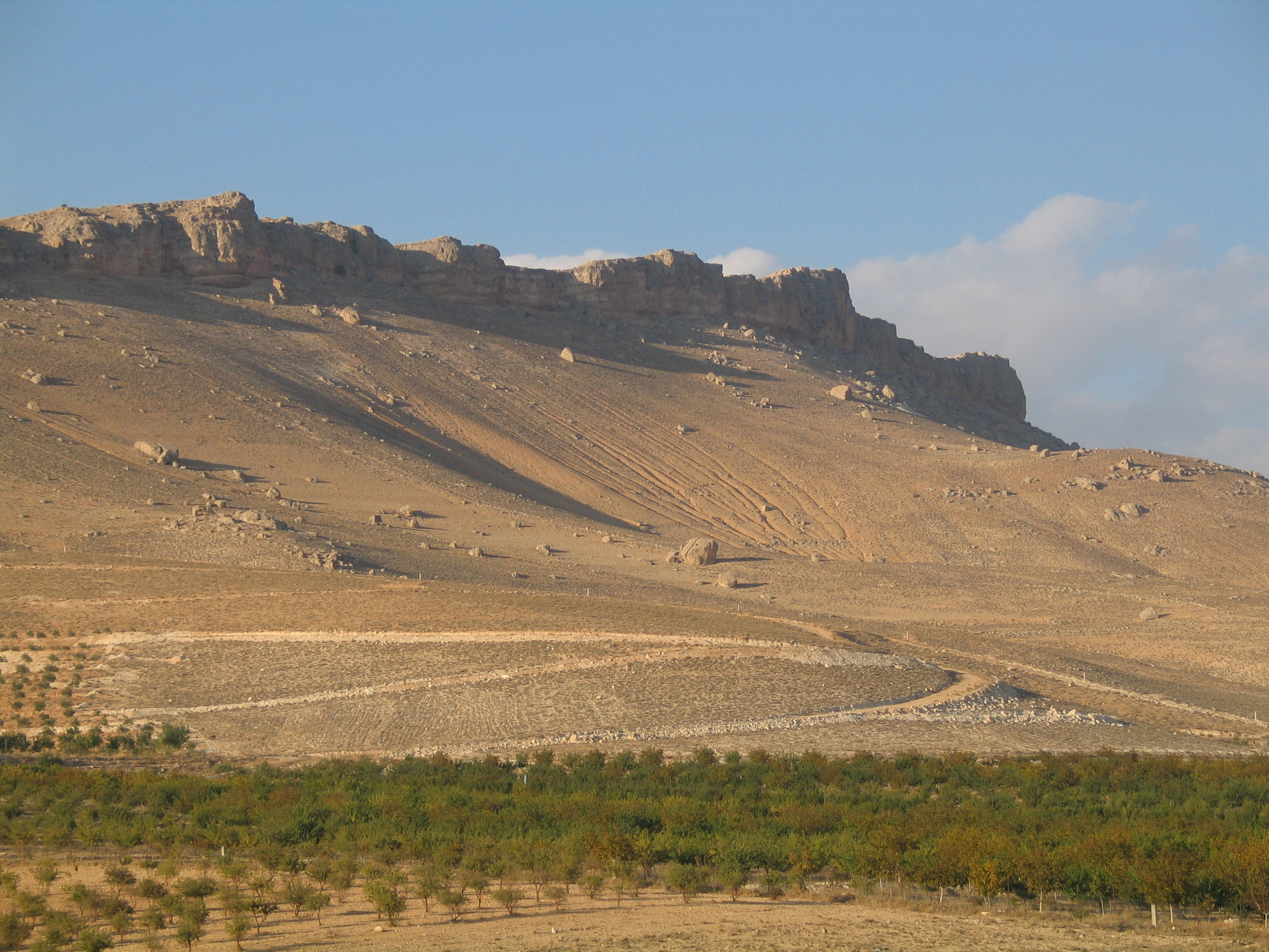 A prominent cliff line transects the Paleolithic survey of the region near Ma'aloula (Syria), north of Damascus.